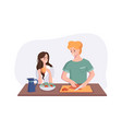 young couple is talking while cooking breakfast at vector image