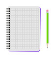 notebook with a green pencil vector image