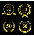 50 fifty years anniversary signs laurel gold vector image