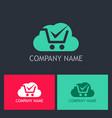 cloud shop cart logo vector image