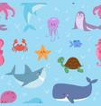 sea animals tropical character vector image