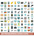 100 programming goods icons set flat style vector image vector image