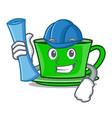 architect green tea character cartoon vector image