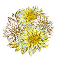 bouquet with fluffy yellow dahlias vector image vector image