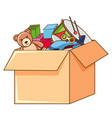 box full toys on white background vector image vector image