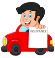 Cartoon little boy notify to join insurance vector image vector image