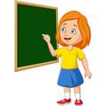 cartoon schoolgirl writing on blackboard vector image vector image