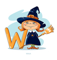 Cartoons Alphabet - Letter W with funny Witch vector image vector image