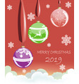 christmas balls on ribbons with snowflakes vector image