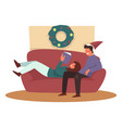 christmas holiday couple on couch living room vector image