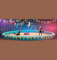 circus acrobats and animal juggling show vector image vector image