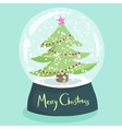 Colorful Christmas poster with cartoon snow globe vector image