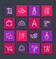 construction and renovation line icons set vector image vector image
