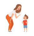 family abuse woman son scream together family vector image vector image
