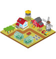 farmyard isometric game model icon vector image vector image