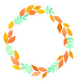 fern and fall leaves wreath watercolor for autumn vector image vector image