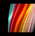 fluid wavy multicolored lines on black vector image