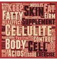 Foods and Supplements that Control Cellulite text vector image vector image
