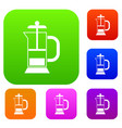 french press coffee maker set collection vector image vector image