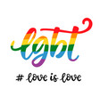 gay hand written lettering poster lgbt rights vector image vector image