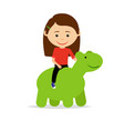 girl sitting on green dinosaur toy vector image vector image