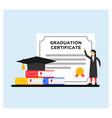 graduation certificate in flat design vector image vector image