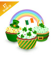 green party set with cupcakes vector image