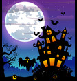 halloween night background with black ghost and pu vector image