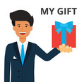 handsome businessman holding gift box in hand vector image