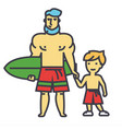happy father with son on vacation with surfing vector image