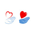 heart in hand logo or label charity icon vector image