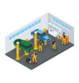 isometric car repair service template vector image vector image