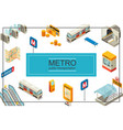 isometric subway concept vector image vector image
