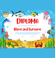 kids education diploma with fish crab and turtle vector image