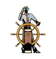 man holding steering wheel vector image vector image