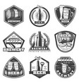 monochrome vintage brewery labels set vector image