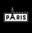 paris france t-shirt print design on a dark vector image