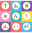 people in park cartoon isolated banner set vector image