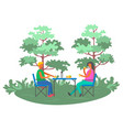 people picnic near trees leisure outdoor vector image vector image