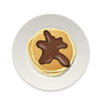 realistic pancake with chocolate on a white plate vector image