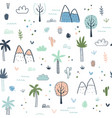 seamless pattern with palm trees and mountains vector image