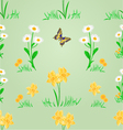 Seamless texture spring meadow narcissus and daisy vector image vector image