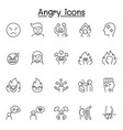 set angry related line icons contains