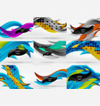 set of 3d wave line abstract backgrounds vector image vector image