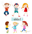 set of elated kids vector image