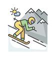 skiing rgb color icon vector image vector image