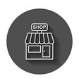 store icon shop build on black round background vector image vector image