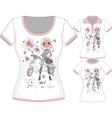 T-shirt with fashion girl and scooter vector image vector image