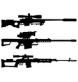 three sniper rifles vector image vector image