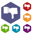 Thumb down gesture icons set vector image vector image